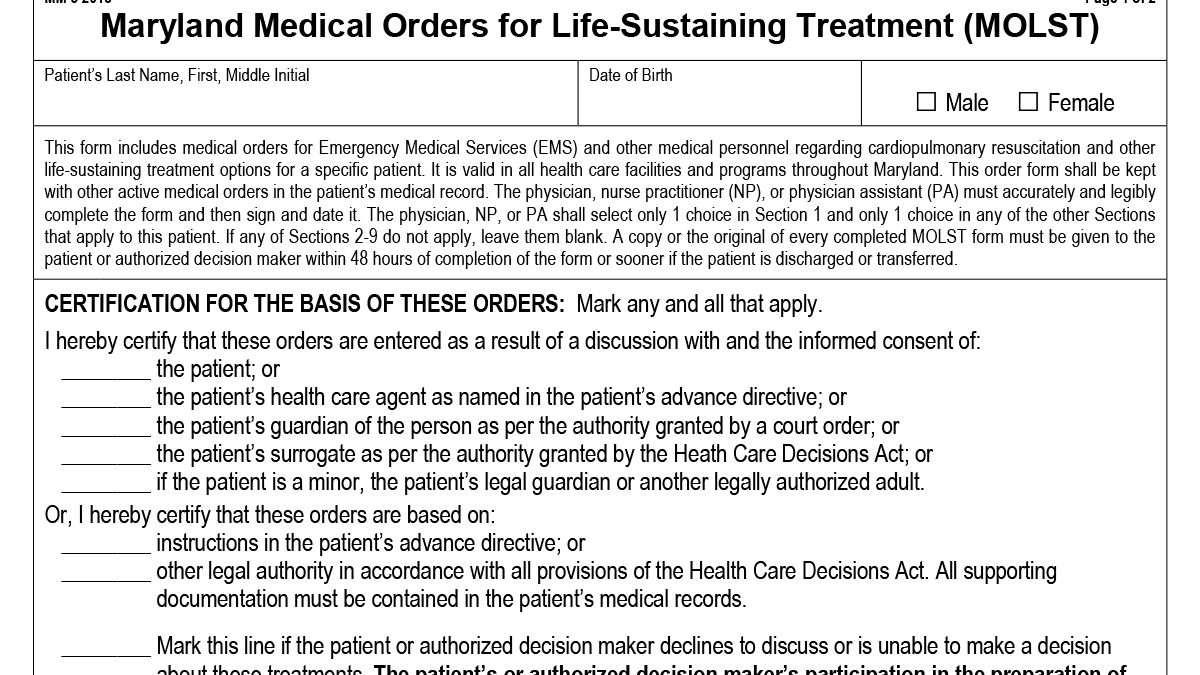 MOLST: Medical Orders for Life-Sustaining Treatment